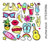 fashion summer patches with... | Shutterstock .eps vector #575339086
