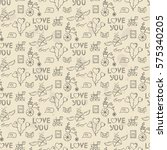 seamless pattern with valentine'... | Shutterstock .eps vector #575340205