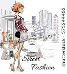 fashion young girl  in the... | Shutterstock .eps vector #575344402