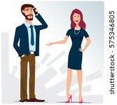 conversation at work | Shutterstock .eps vector #575346805