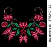 embroidery with butterfly ... | Shutterstock .eps vector #575347432