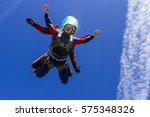skydiving photo. tandem. | Shutterstock . vector #575348326