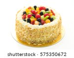fruits cake isolated on white... | Shutterstock . vector #575350672