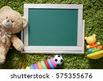 kids chalkboard. frame with a... | Shutterstock . vector #575355676