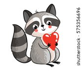 isolated raccoon holding in the ... | Shutterstock .eps vector #575356696