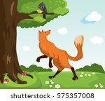 red fox and crow with cheese.... | Shutterstock .eps vector #575357008