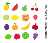 vector fruit icons | Shutterstock .eps vector #575359702