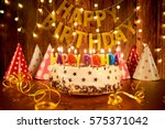 happy birthday cake with... | Shutterstock . vector #575371042