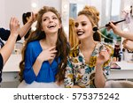 Small photo of Preparation to great party of joyful young women in beauty salon. Expressing true posititve emotions, stylish look, fashionable models, beautiful coiffure, makeup, beauty service, stylist