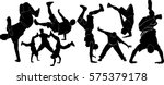 set of silhouettes of dancers... | Shutterstock .eps vector #575379178
