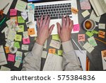 top view on man working on... | Shutterstock . vector #575384836