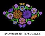 embroidery on a black... | Shutterstock .eps vector #575392666
