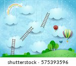 surreal landscape with ladders... | Shutterstock .eps vector #575393596