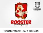 funny cartoon rooster chicken... | Shutterstock .eps vector #575408935