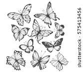 butterflies. vector hand drawn... | Shutterstock .eps vector #575413456