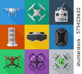 set of simple drones flat icons ...   Shutterstock .eps vector #575423632