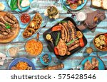 variety of food grilled on... | Shutterstock . vector #575428546
