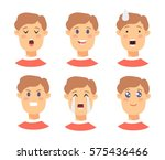 set of male emoji characters.... | Shutterstock .eps vector #575436466