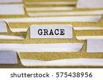 grace word on card index paper   Shutterstock . vector #575438956