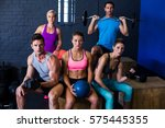 determined athletes with... | Shutterstock . vector #575445355