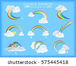 different patterns of rainbows... | Shutterstock .eps vector #575445418