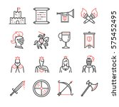 medieval line icon set.... | Shutterstock .eps vector #575452495