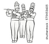 historical marching band with... | Shutterstock .eps vector #575453605