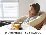 young ill woman with tissue... | Shutterstock . vector #575462902
