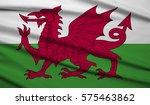 wales waving flag 3d illustrator | Shutterstock . vector #575463862
