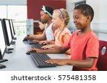 school kids using computer in... | Shutterstock . vector #575481358
