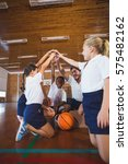 sports teacher and school kids... | Shutterstock . vector #575482162