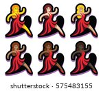 vector set of dancers isolated...