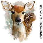 Stock photo fawn watercolor painting 575492638