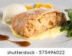 apple strudel with ice cream... | Shutterstock . vector #575496022