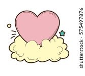 vintage heart and cloud vector... | Shutterstock .eps vector #575497876