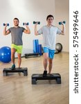 Small photo of Two men doing step aerobic exercise with dumbbell on stepper in fitness studio