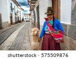 cusco  peru   feb 8  a quechuan ... | Shutterstock . vector #575509876