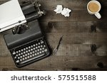 old fashioned typewriter on... | Shutterstock . vector #575515588