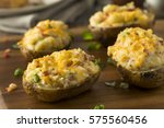 homemade twice baked potatoes... | Shutterstock . vector #575560456