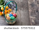 Easter Eggs In A Basket And...