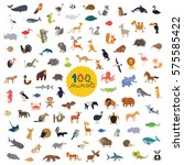 great set of a hundred animals... | Shutterstock .eps vector #575585422