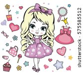 vector illustration of princess ... | Shutterstock .eps vector #575585512