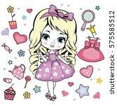 vector illustration of princess ... | Shutterstock .eps vector #575585512