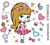 vector illustration of princess ... | Shutterstock .eps vector #575585518
