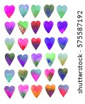 colored hearts. watercolor on... | Shutterstock .eps vector #575587192