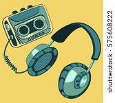headphones with music player... | Shutterstock .eps vector #575608222