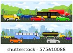 highway with traffic traveling... | Shutterstock .eps vector #575610088