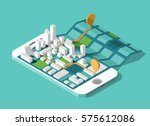 city isometric plan with road... | Shutterstock .eps vector #575612086