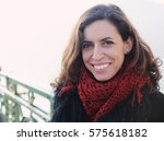 portrait of 40 years old woman... | Shutterstock . vector #575618182