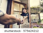 delivery courier freight... | Shutterstock . vector #575624212